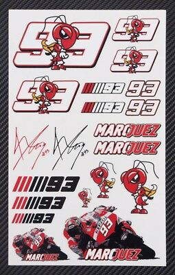 Marc Marquez 93 motorcycle car decals 18 stickers set MotoGP honda Laminated