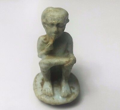 Rare Ancient Egyptian Faience Glass  HARPOCRATES  Amulet  600 - 300 BC