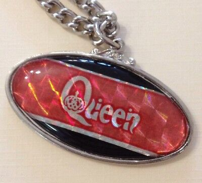 Queen - Rock Group Named Red/Black Pendant Necklace 1970/80s (New & Unused)
