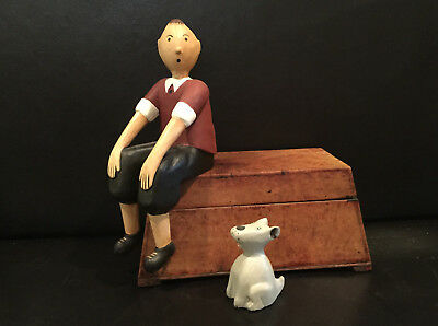Tintin And Snowy Hand Carved And Painted Wooden Figures 2995