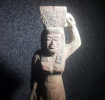 Rare Ancient Egyptian WOOD A woman carries a sacrifice New Kingdom (1549–1069 BC