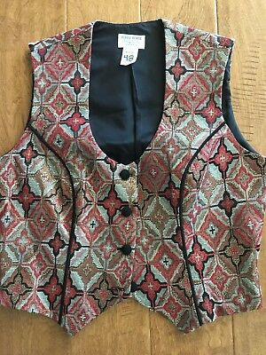 Vintage HOBBY HORSE RED BLACK AND GOLD Metallic WOMENS Show Vest Size Medium