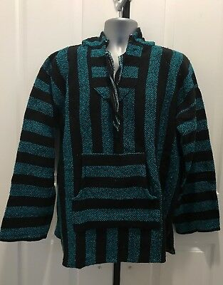 Hand Made Guatemalan Sweater Poncho, Blue/Black
