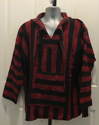 Hand Made Guatemalan Sweater Poncho, Red/Black