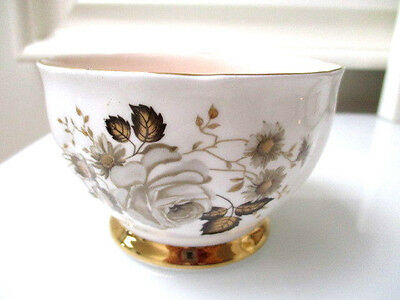 Queen Anne Pattern Terra Nova 1950s Vintage Sugar Bowl pastel pink inlay 10cm H