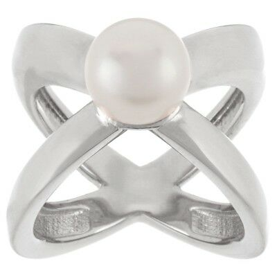 QVC Honora 14K White Gold Over Cultured Pearl 9.0mm X Design Bronze Ring Size 7