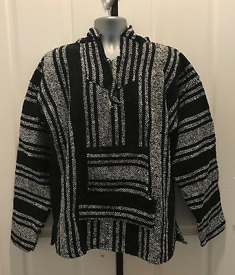 Hand Made Guatemalan Sweater Poncho, White/Black