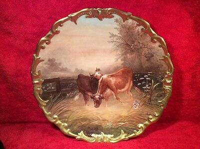 Antique Hand Painted French Limoges Wall Plaque Platter Known Artist Signed L272