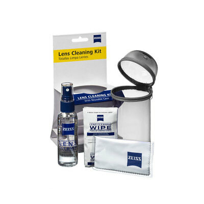 NEW Zeiss Lens Care Kit w/ Reusable Grey Case Lens Spray Wipes Cleaning Cloth