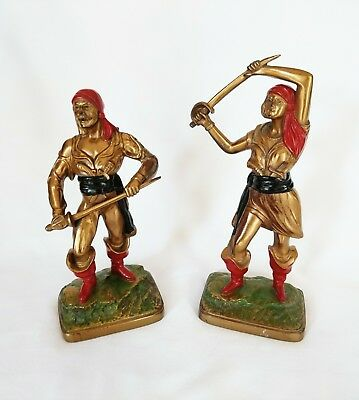 Vintage Pirate Painted Cast Metal Statues Bookends