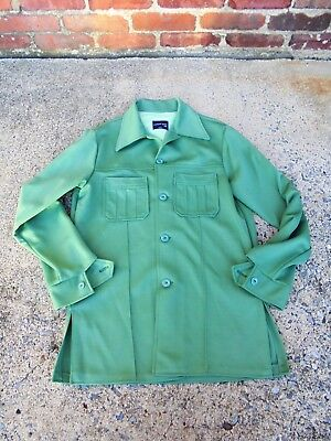 Vintage 1970s Men's Michael Gray Poly Leisure Suit Jacket Blazer Green Disco