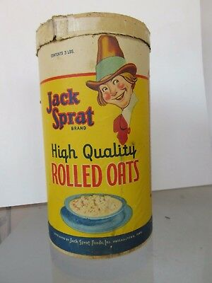 JACK SPRAT ROLLED OATS OATMEAL Box Container w/Lid 3lb~Marshalltown IA - 10 3/4""