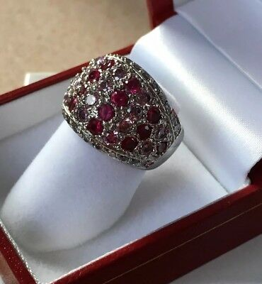 Vintage Ruby Cocktail Ring w Pink topaz Sterling Silver Wide Band Ring 💍