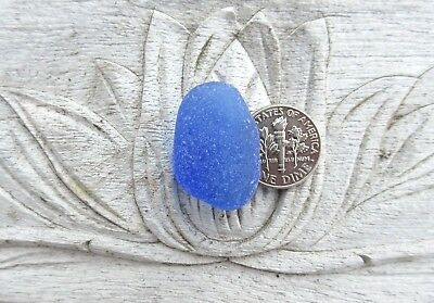 Sea Glass. One Cornflower Blue pendant. Surf-tumbled & frosted. Jewelry.