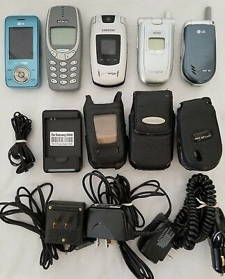 Lot of 5 Cell Phones with Cases & House + Car Chargers. Verizon & Cinguar.