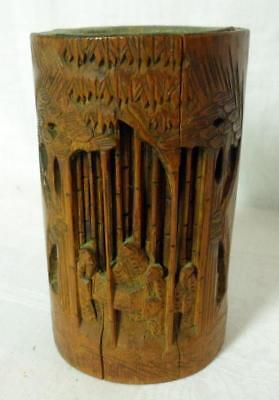 Antique Vintage China Hand Carved Chinese Bamboo Wood Brush Pot