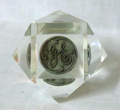 General Electric Geometric Dome Lucite Advertising GE Paperweight