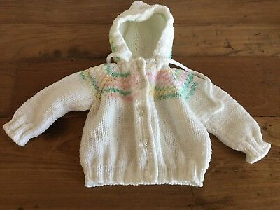 Hand Knit Infant Girl's Sweater with Hood