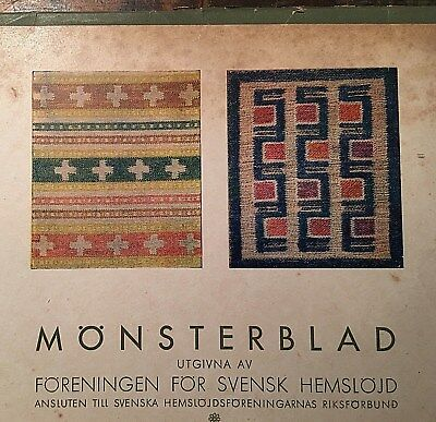 Vtg 1970 Monsterblad Kartong Svensk Hemslojd Swedish Color Woven Rugs Pattern -E