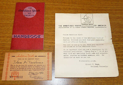 Vintage The Ambitious Youth of America Medford Ma Handbook Membership Card 1938