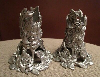 Vintage Seagull Pewter Pair Of Candle Sticks Roses  1997 Mint