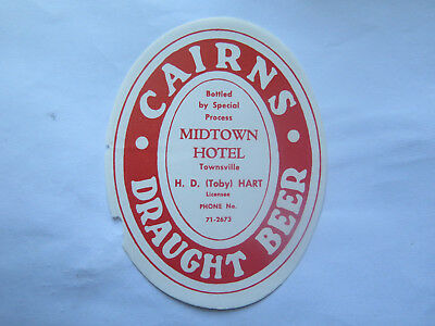 MIDTOWN HOTEL TOWNSVILLE CAIRNS DRAUGHT BEER LABEL 1950s TOBY HART #SMALL SIZE#