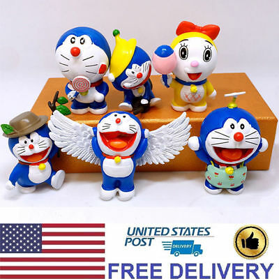 Doraemon Cat-Like Robot Wings Angel Anime Character 6 PCS Action Figure Doll Toy