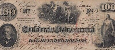 "$100 ""slaves Hoeing"" (Confederate Note) $100(Rare)""csa ""slaves Hoeing"" Nice!!!"