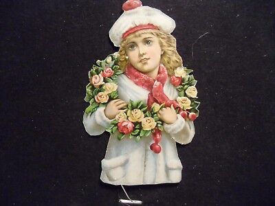 victorian scrap # 9835 - SNOW CHILD WITH WREATH OF FLOWERS - LARGE - CUT OUT