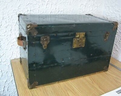 Old small steampunk travel trunk metal & wood chest box 20 x 11 x 12 inch height