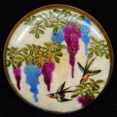 """X-LG Antique SATSUMA Pottery BUTTON~ FLYING Swallows in Wisteria 1.50"""""""