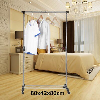 Heavy Duty Rack Clothes Garment Portable Double Rail Rolling Stand Adjustable AB