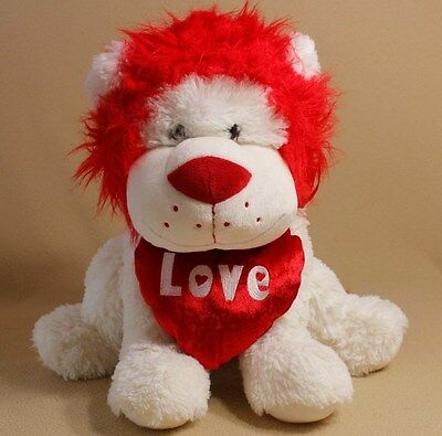 "Walmart White and Red Plush Valentine Lion Holding Red Heart ""LOVE"" 18"" T"