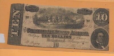 "$10 (Confederate Note) 1800's"" $10""actual Autographs""$10  (Confederate Note) !!"