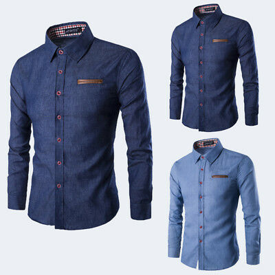 Mens DRESS SHIRTS Slim Fit Stretch Button Down Long Sleeve Casual Denim US STOCK