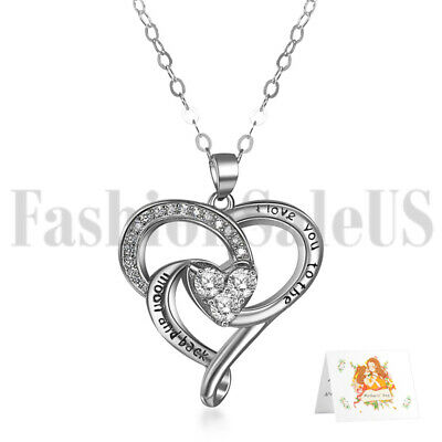 Fashion 925 Silver Women Love Heart Pendant Necklace Chain Promise Jewelry Gift