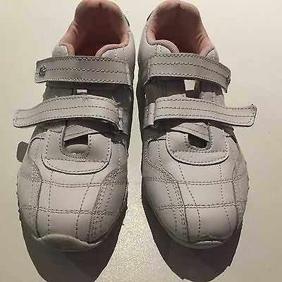 White/Pink Lonsdale JUNIOR KIDS SHOES/SNEAKERS/ VELCRO SHOES