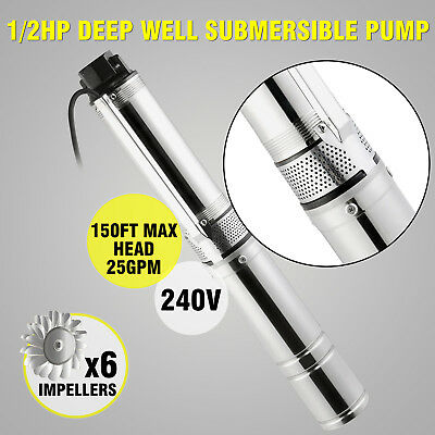 0.5 Hp Stainless Steel Submersible Deep Well Pump Under Water 150 Ft 240V