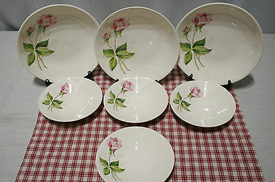 LOT of Knowles TEA ROSE: 3 Soup Bowls, 4 Fruit Dessert Sauce Bowls, Excellent!