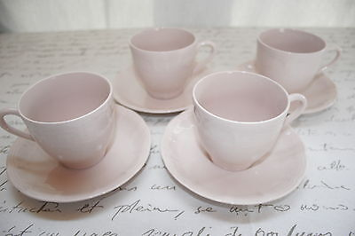 LOT of 4 Royal Art Pottery Cup & Saucer SETS,  Pink / Peach EXCELLENT CONDITION!