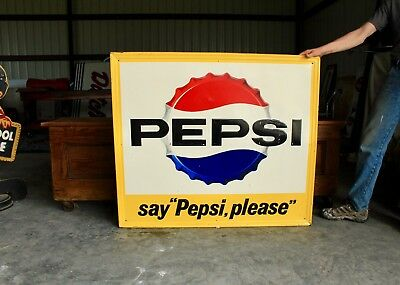 Original 1963 Embossed Pepsi Cola Advertising Soda Sign Gas Oil Nice!