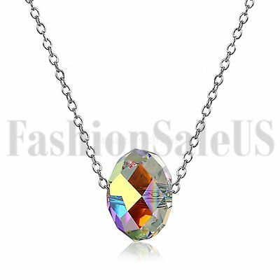 Womens Aurora 925 Silver Chain Colorful Stone Crystal Promise Pendant Necklace