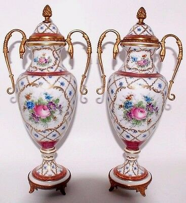 Pair Of Beautiful Antique French Urns Bronze Mount Hand Painted