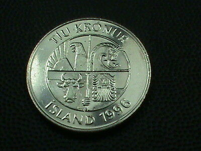 ICELAND    10  Kronur    1996  UNCIRCULATED $ 2.99 maximum shipping in USA