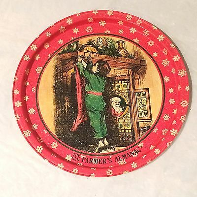 """Vintage Collector The Old Farmers Almanac 10 3/4"""" Round Tin Plate Platter"""