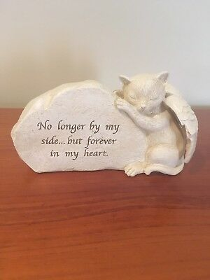 Pet Cat Memorial Stone Statue Plaque Sympathy Gift - Forever in my heart