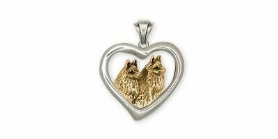 Schipperke Jewelry Silver And Gold Schipperke Pendant Handmade Dog Jewelry SC6-T