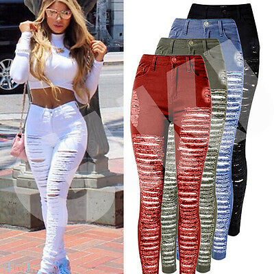 USA Women Hole Destroyed Ripped Distressed Slim Denim Pants Boyfriend Jeans Pop