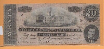 "$20 (Confederate Note) 1800's"" $20""actual Autographs""$20  (Confederate Note)"