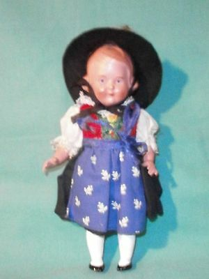 """Celluloidpuppe SK Inge 16 in Tracht/doll turtle mark """"inge"""" 16 in costume"""